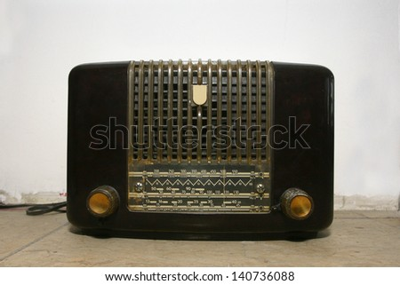 Radio Beautiful old radio receiver device - stock photo