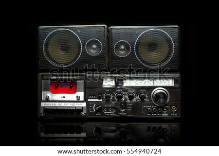 Radio boom box on black background