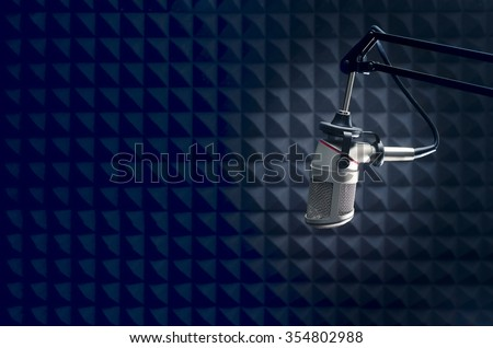 radio  broadcasting professional Microphone - stock photo