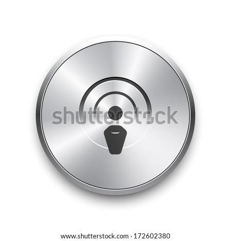 Radio broadcasting vector icon on metal button. Raster version. - stock photo