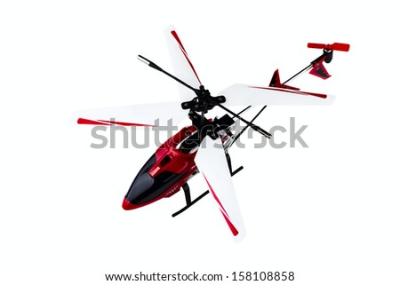radio-controlled model of the helicopter isolated on a white background - stock photo