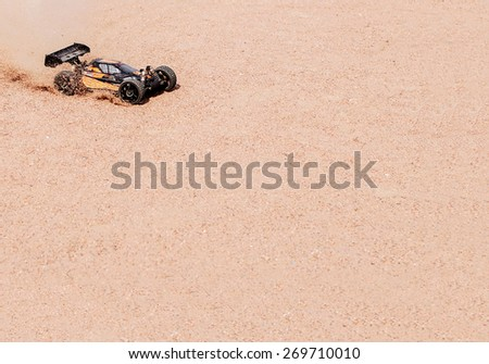 Radio-controlled race car background - stock photo