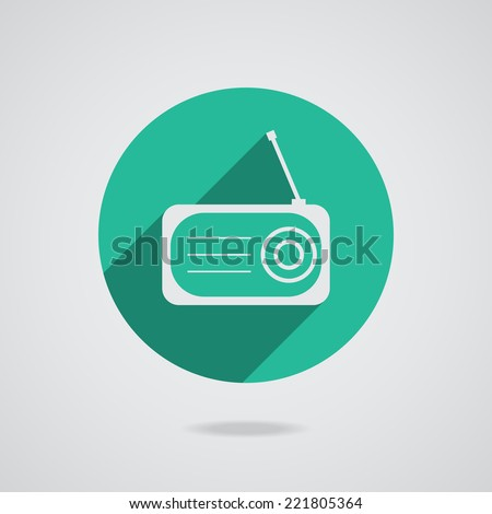 Radio flat white icon silhouette with long shadow on gray background.  - stock photo