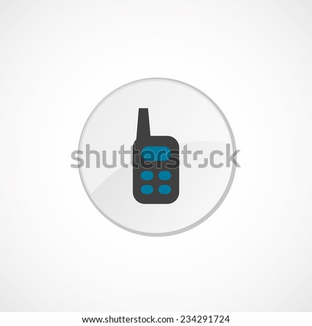 radio icon 2 colored, gray and blue, circle badge  - stock photo