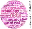Radio info-text graphics and arrangement concept on white background (word cloud) - stock