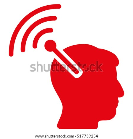 Radio Neural Interface glyph pictogram. Style is flat graphic symbol, red color, white background.