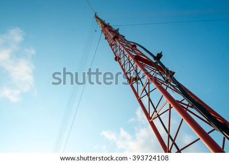 Radio or communication antenna tower, Ant eyes view. - stock photo