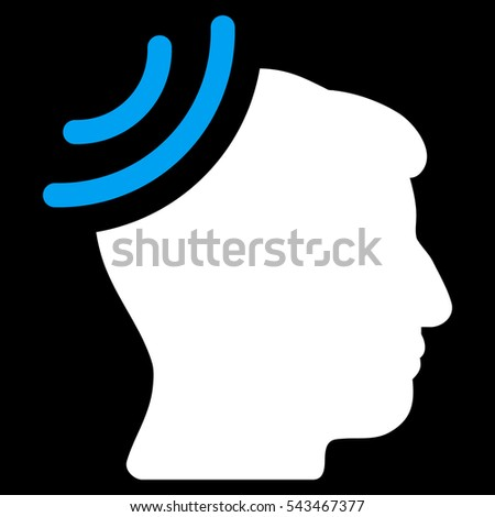 Radio Reception Brain glyph icon. Style is flat graphic bicolor symbol, blue and white colors, black background.