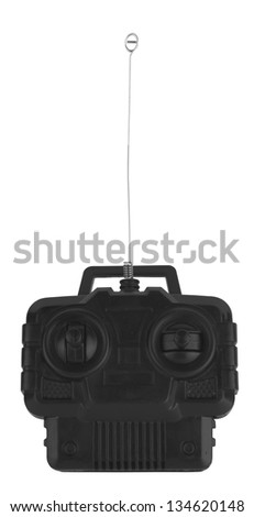 Radio remote control for toy car on white - stock photo