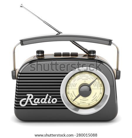 Radio retro portable receiver recorder vintage black front object isolated - stock photo