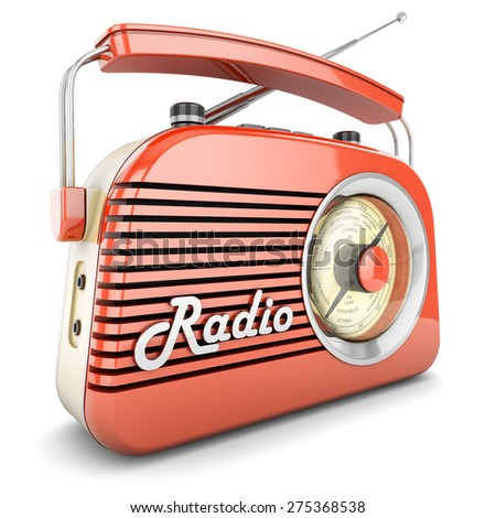 Radio retro portable receiver red recorder vintage object isolated - stock photo