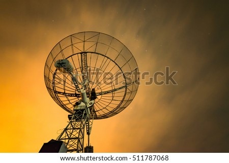 Radio telescope scene at night in China