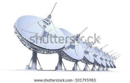 radio telescopes isolated on white background, 3d render, work path included