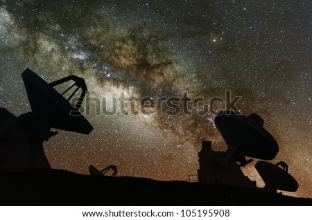 Radio telescopes observe the Milky Way. - stock photo