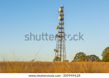 Radio tower in the late afternoon at Redbank Plains, Brisbane, Queensland.