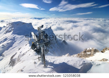 Radio tower on the mountain - stock photo