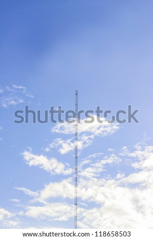 Radio tower or wireless tower with blue sky background, Phuket, Thailand