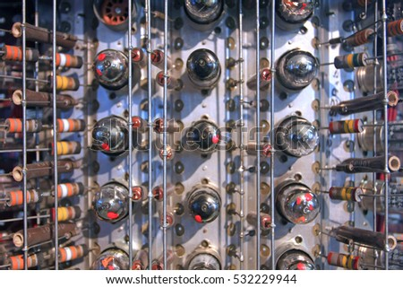 Radio tubes in rows