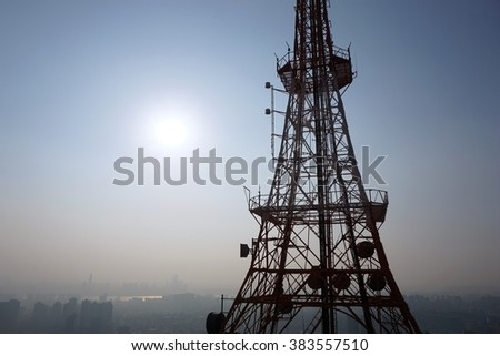 radio wave tower use for transmission the signal to the receiver - stock photo