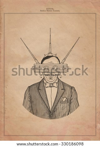 Radio waves glasses. Device - stock photo