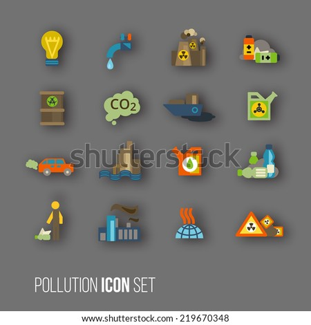 Radioactive and carbon dioxide toxic waste human activity waste air water pollution icons set isolated  illustration - stock photo