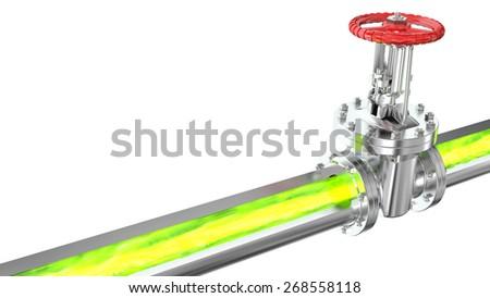 Radioactive and toxic substances flow through the conduit - stock photo