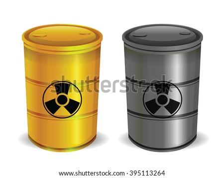 Radioactive Barrels Isolated on White - stock photo