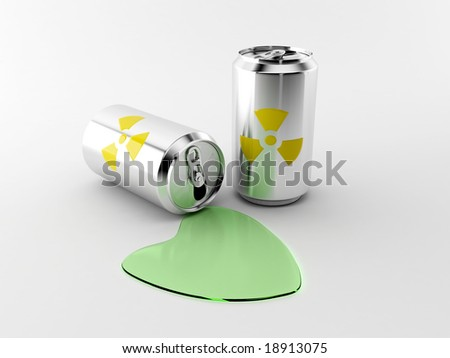 Radioactive cans. - stock photo