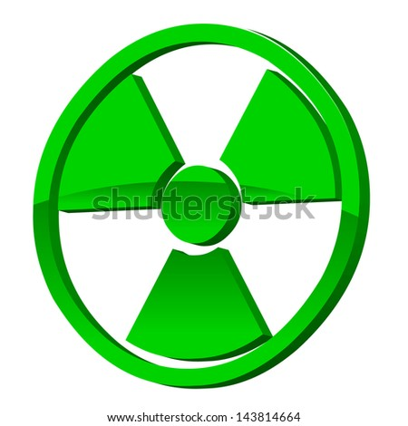 Radioactive 3d icon on a white background - stock photo