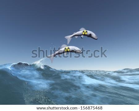 Radioactive fish - stock photo