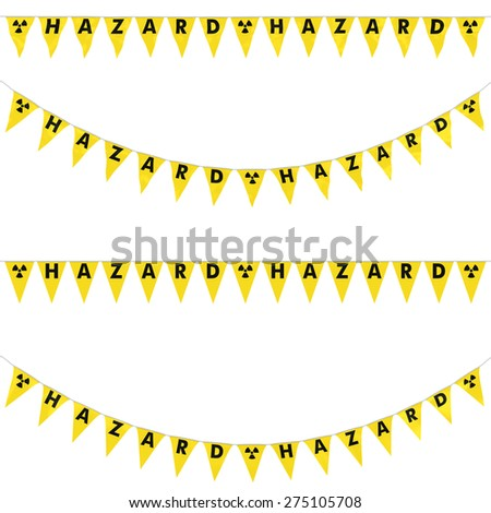 Radioactive Hazard Bunting Collection: 3D reflection and flat orthographic textures - stock photo