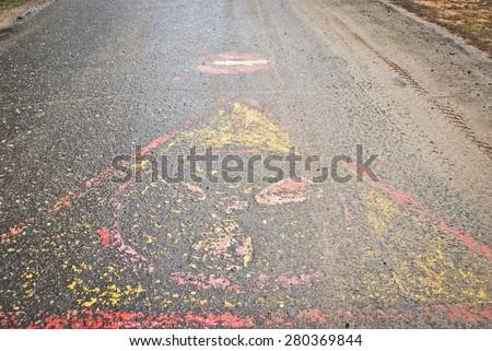 radioactive road - stock photo