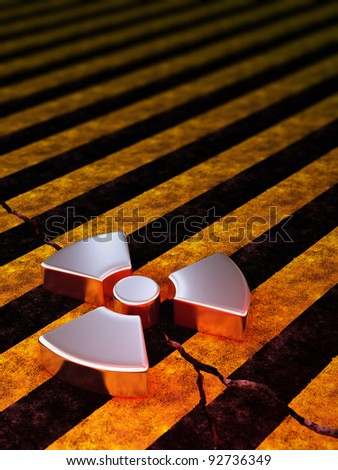 radioactive sign on cracked stripe concrete - stock photo