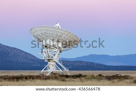 Radiotelescopes at the Very Large Array, the National Radio Observatory in New Mexico at sunrise - stock photo