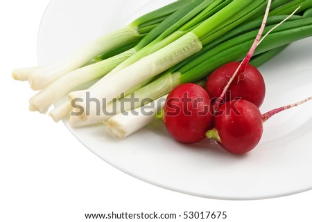 Radish and green onion on the plate