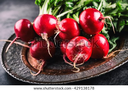 Radish. Fresh Radish. Red fresh radish. Fresh Vegetable. Healthy fresh vegetable.  - stock photo