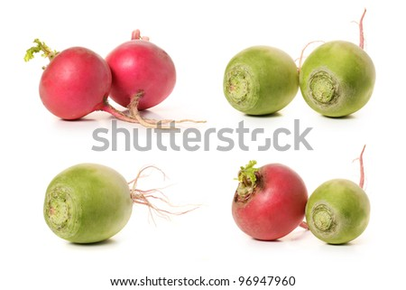 radish. Isolated over white background - stock photo