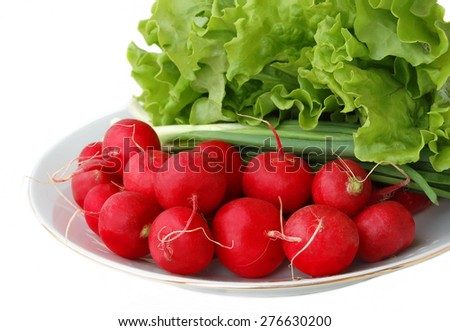 radish, onion and lettuce on a white plate isolated on white - stock photo