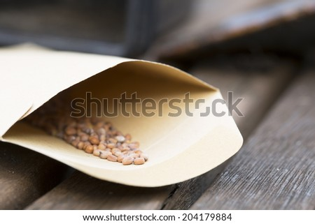 Radish seeds in seed packet for planting in the garden. - stock photo