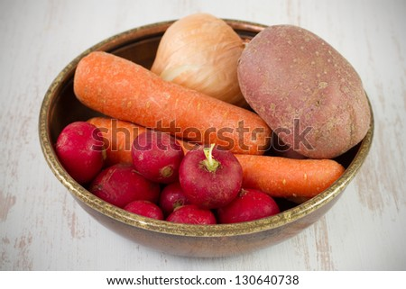 radish with carrot, onion and potato