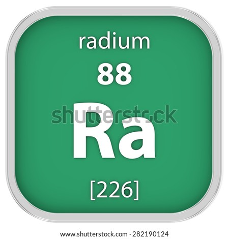 Radium material on the periodic table. Part of a series. - stock photo