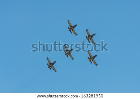 RADOM, POLAND - AUGUST 25: Baltic Bees latvian aerobatic display team during Air Show 2013 event on August 25, 2013 in Radom, Poland