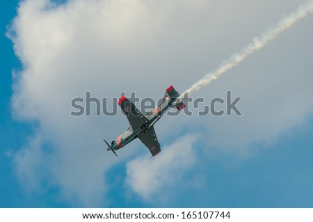 RADOM, POLAND - AUGUST 25: Orlik (Poland) aerobatic display team during Air Show 2013 event on August 25, 2013 in Radom, Poland