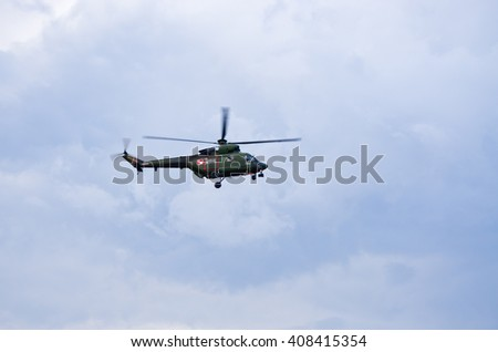Radom, Poland - August 22, 2015: W-3 Sokol helicopter during the flight. Airshow event on 22 August 2015, Radom, Poland