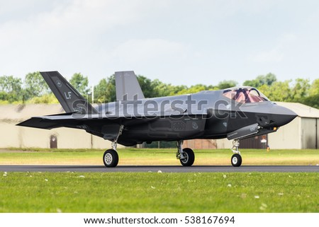 RAF FAIRFORD, GLOUCESTERSHIRE, UK - JULY 10: Demonstration of a Lockheed Martin F-35 Lightning II on July 10, 2016 at the Royal International Air Tattoo at RAF Fairford, Gloucestershire, UK.