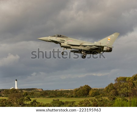 RAF LOSSIEMOUTH, MORAY,SCOTLAND - CIRCA OCT 2014: This is a scene from part of the Exercise Joint Warrior 2014 at RAF Lossiemouth, Moray, Scotland during the week of 6-10th October 2014.