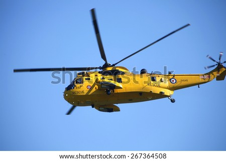 RAF Sea King Rescue helicopter at the Flying Legends Air Display held at Duxford airfield,Cambridgeshire,UK.taken 14/07/2013 - stock photo