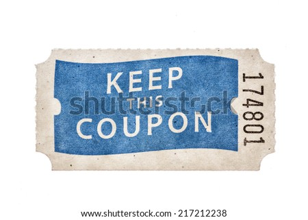raffle coupon ticket with keep this coupon and a number isolated on white - stock photo