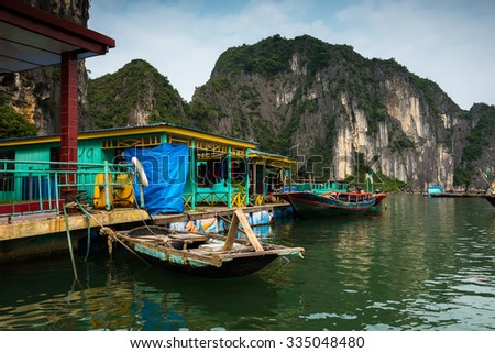 Raft House in Halong Bay, Vietnam. - stock photo