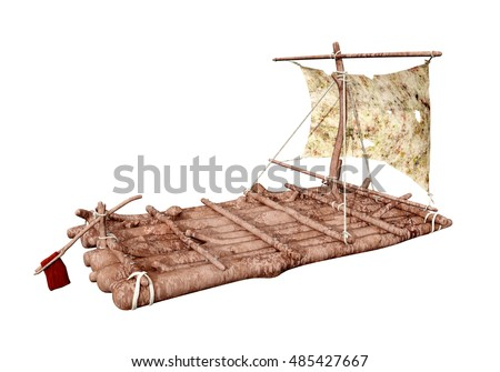 Raft isolated on white background Computer generated 3D illustration